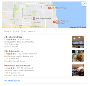 local seo snack pack map